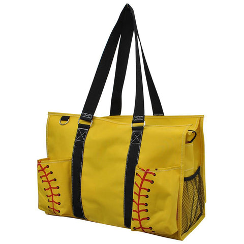 Softball Yellow NGIL Zippered Caddy Large Organizer Tote Bag