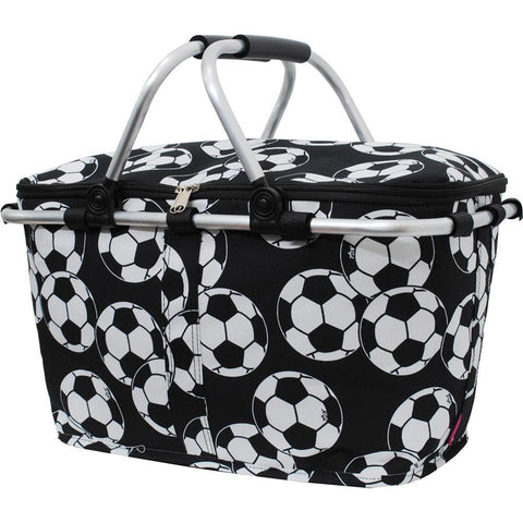 Insulated picnic basket set, market basket bag, insulated collapsible picnic basket, picnic basket set, picnic basket for two, picnic basket for 4, baskets for 4, picnic basket gifts, monogram gift ideas, soccer insulated basket soccer snacks basket, soccer mom basket, monogram gifts for women, personalized gifts for mom.