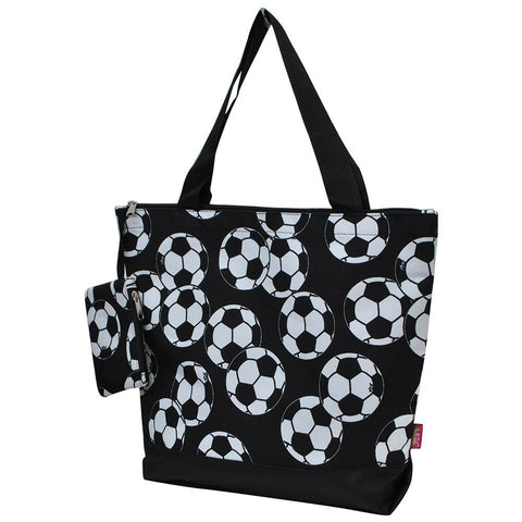 Monogrammed Zippered Tote Bag, monogram gifts for her, Monogram bags and tote, Gifts for her, monogram gifts, NGIL Brand, custom tote bags with zipper, wholesale tote bags with zipper, black soccer tote, soccer ball tote, cute bags for soccer mom, nice tote bags for school.