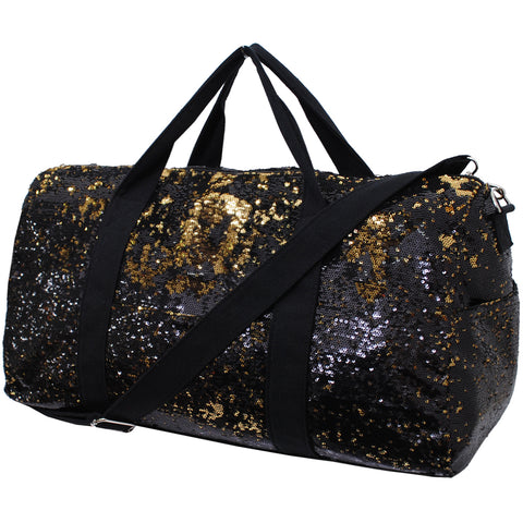 Black and Gold Sequins NGIL Duffle Bag