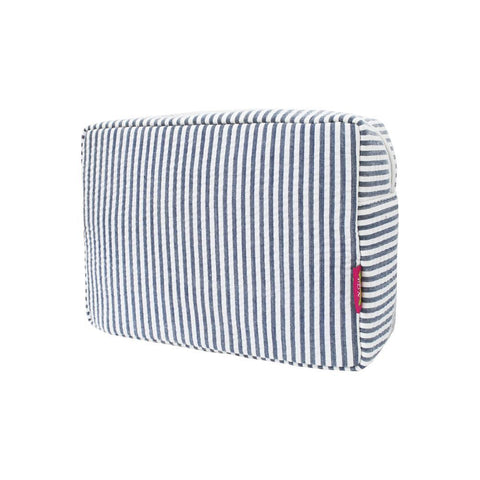 Seersucker Navy NGIL Large Cosmetic Travel Pouch