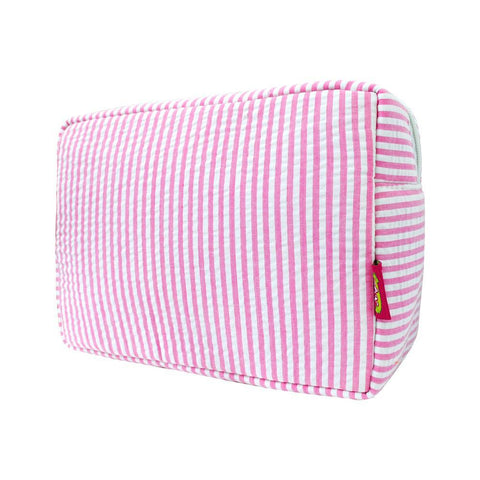 Seersucker Pink NGIL Large Cosmetic Travel Pouch