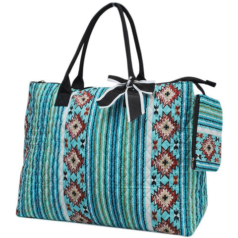 Southern Aqua Serape NGIL Quilted Overnight Tote Bag