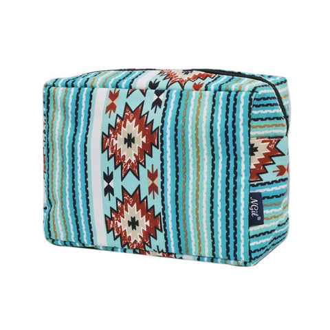 aqua serape makeup bag wholesale, Cosmetic bags in bulk, best women's makeup bag, makeup pouch for school, makeup bag gifts for women, makeup organizer case, cosmetic bag for bride, travel bags gift,