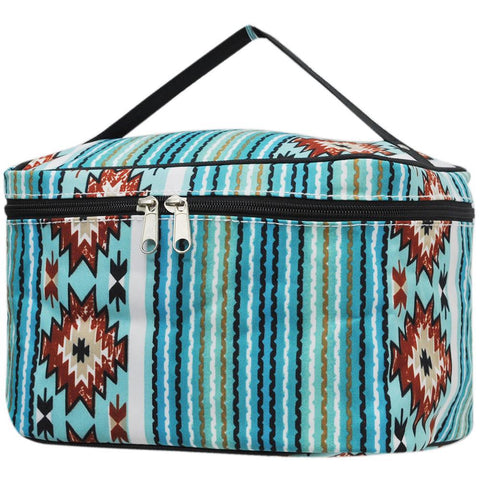 aqua serape makeup bag, aqua serape cosmetic bag wholesale, Cosmetic bag personalized, makeup bag for traveling, makeup bag for brushes, makeup case for bride, makeup organizer travel, personalized makeup bag bridesmaids,