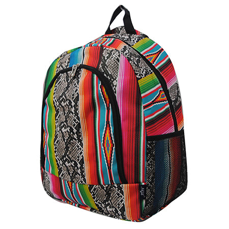 Snake Skin with Serape Medium Size NGIL Canvas School Backpack