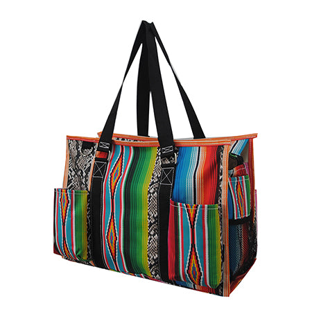 Snake Skin with Serape NGIL Zippered Organizer Tote Bag