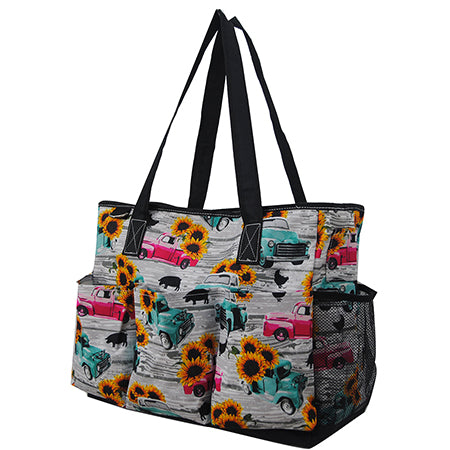Sunflower Southern Vintage Truck NGIL Large Utility Caddy Tote