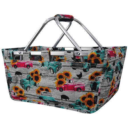 Sunflower Southern Vintage Truck NGIL Canvas, Shopping, Market, Picnic Basket
