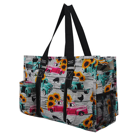 Sunflower Southern Vintage Truck NGIL Zippered Caddy Organizer Tote Bag