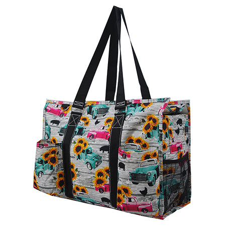 Sunflower Southern Vintage Truck NGIL Zippered Caddy Large Organizer Tote Bag