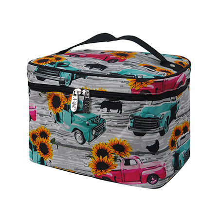 Sunflower Southern Vintage Truck NGIL Large Top Handle Cosmetic Case