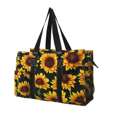 Sunflower NGIL Zippered Caddy Organizer Tote Bag