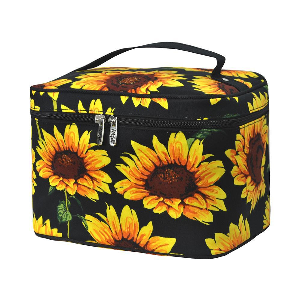 sunflower Wholesale prices bridal gift ideas, sunflower inspired cute cosmetic case wholesale, canvas material water resistant small makeup case, cheap bulk colorful sunflower hair accessories bag