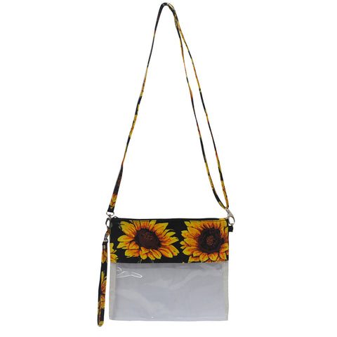 Cute clear sunflower print small crossbody bag, mini crossbody bag for the amusement parks, simple and cute women's handbags, sunflower theme crossbody bag, cute clear wholesale crossbody bags for game stadiums