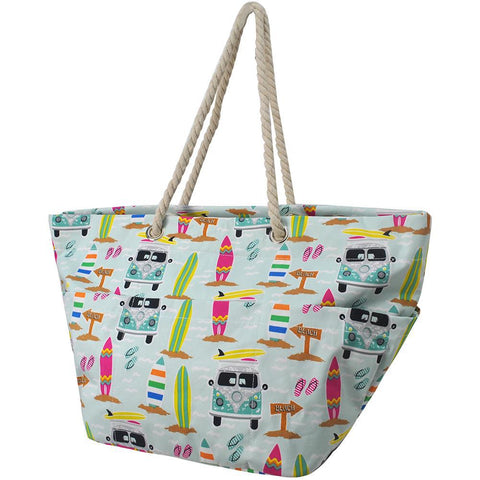 surf beach totes, surf beach bag, surf style beach bag, beach tote bag sublimation, canvas rope handle beach bag, custom rope handle tote, beach tote monogram