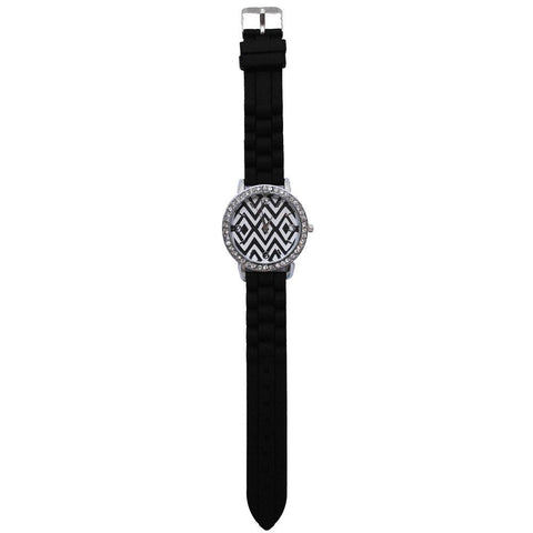 SALE!! Black and White Geometric Silicone Watch