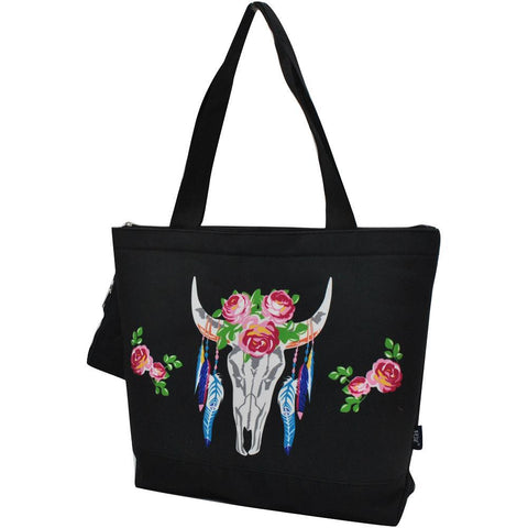 SALE ! Bull Skull Black NGIL Canvas Tote Bag