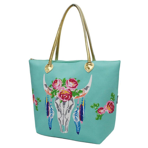 SALE ! Bull Skull Mint NGIL Gold Collection Tote Bag