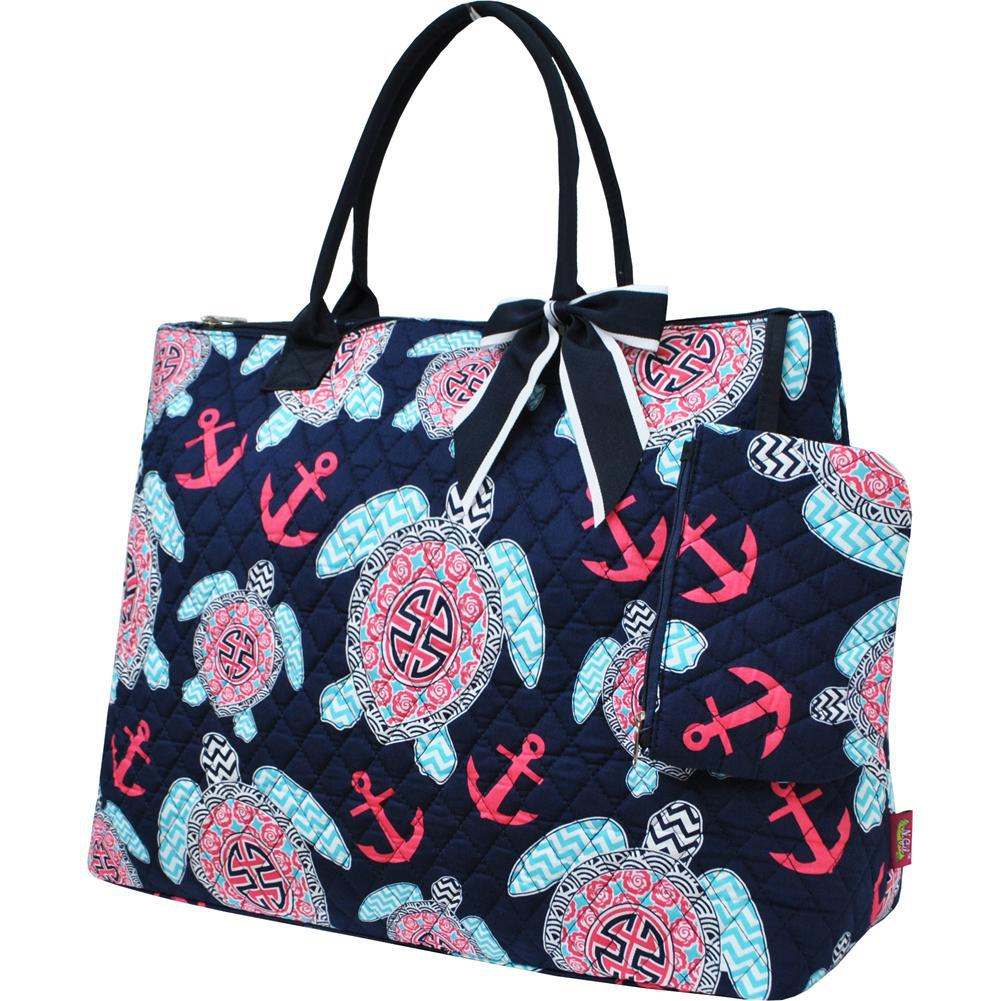 Ocean Sea Turtle Anchor NGIL Quilted Overnight Tote Bag