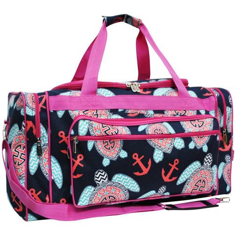 Hot Pink and Navy Blue Turtle Duffel Bag, Blue Sports Bag, Hot Pink and Navy Blue Gym Bag, Hot Pink and Navy Blue Sports Bag for Women, Hot Pink and Navy Blue and Coral Sports Bag for Women