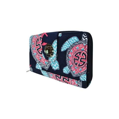 Ocean Sea Turtle Anchor NGIL Quilted Twist Lock Wallet