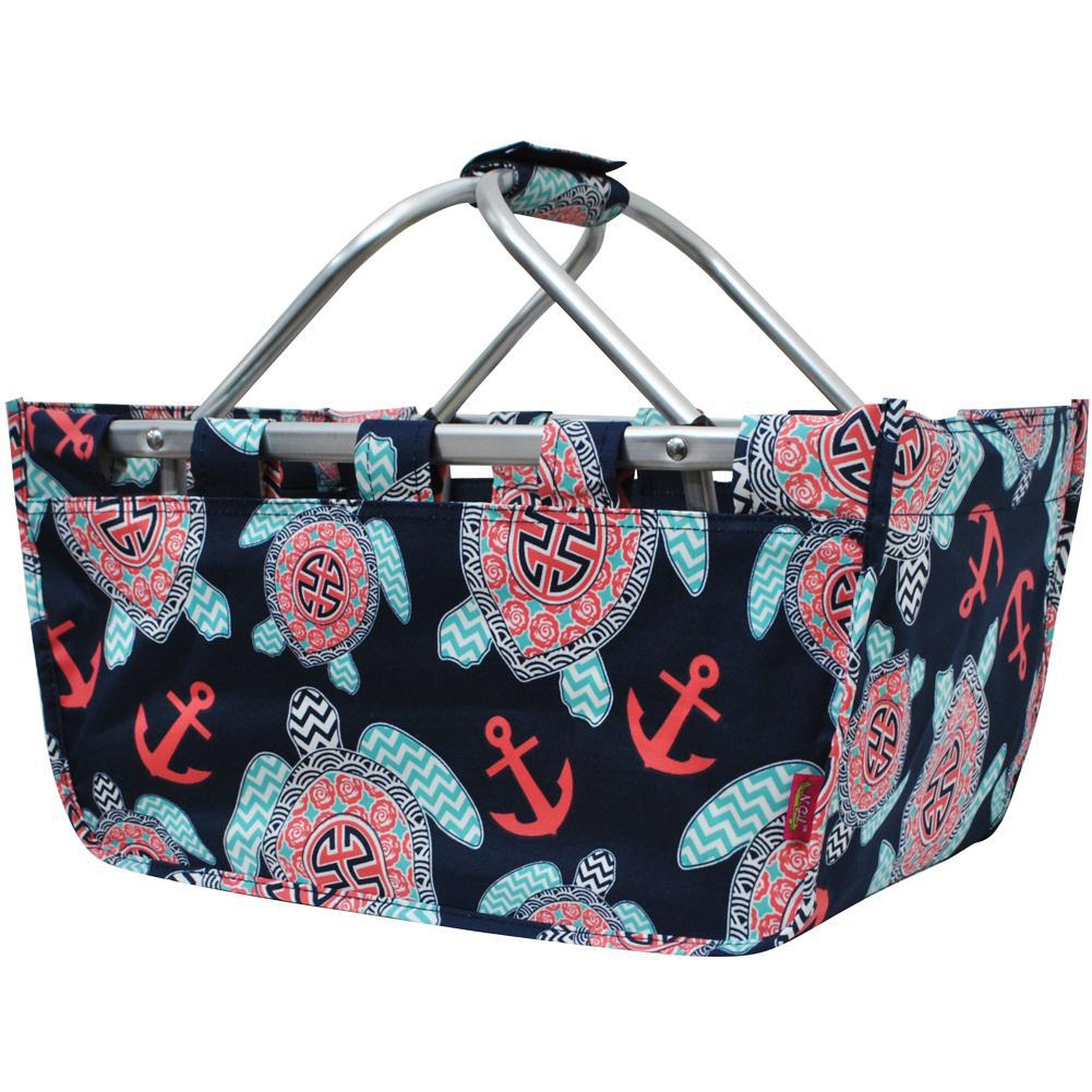 Ocean Sea Turtle Anchor NGIL Canvas, Shopping, Market, Picnic Basket