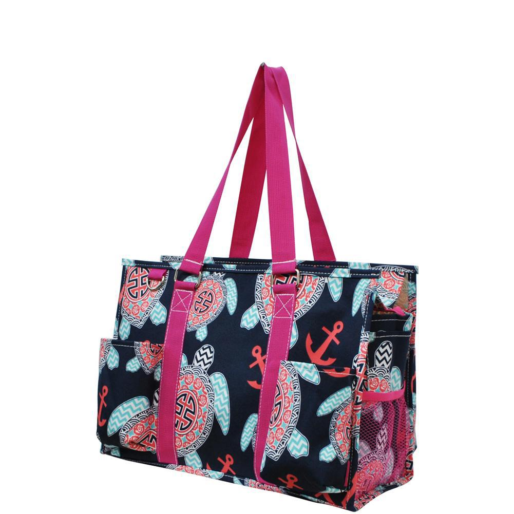Monogrammed Zippered Tote Bag, monogram gifts for her, Monogram bags and tote, personalized gifts for teachers, nurse accessories wholesale, Gifts for her, monogram gifts, NGIL Brand, teacher personalized gifts, nurse personalized gifts, tote bag with sea turtle, tote with turtles.