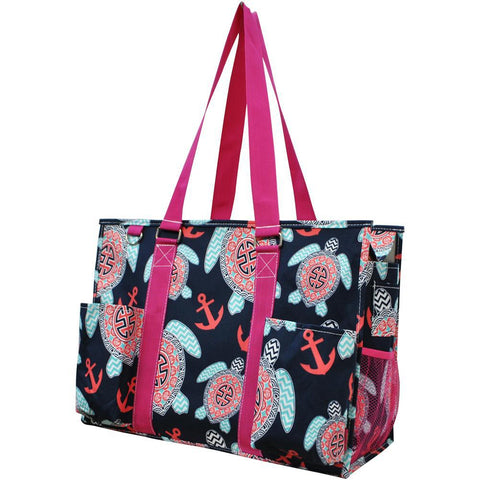 Ocean Sea Turtle Anchor NGIL Zippered Caddy Large Organizer Tote Bag