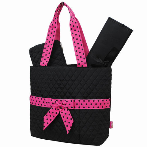 Black and Hot Pink NGIL Quilted 3pcs Diaper Bag