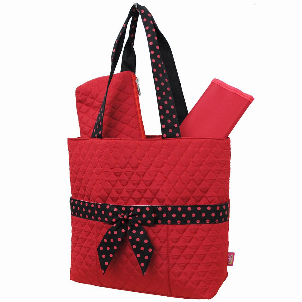 Red and Black NGIL Quilted 3pcs Diaper Bag