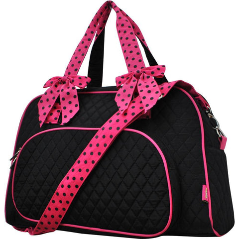 Black and Hot Pink NGIL Solid Duffel Weekender Tote Bag
