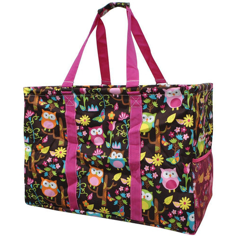 Owl Town Brown Chevron NGIL Mega Shopping Utility Tote Bag