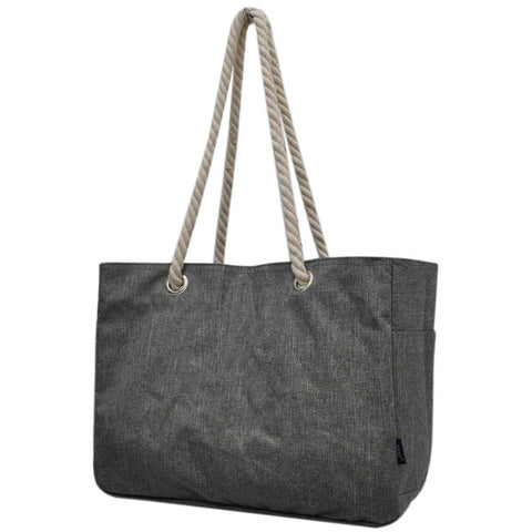 Crosshatch Gray NGIL Large Beach Tote Bag With Rope Handles