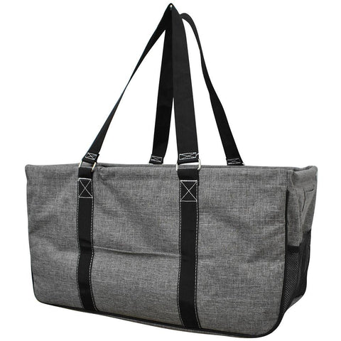 Monogram gift basket, NGIL, monogram tote bag canvas, personalized basket, teacher gift for classroom, crosshatch large tote, gray grey crosshatch utility bag, crosshatch storage bag