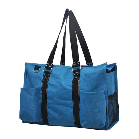 Crosshatch Turquoise NGIL Zippered Caddy Organizer Tote Bag