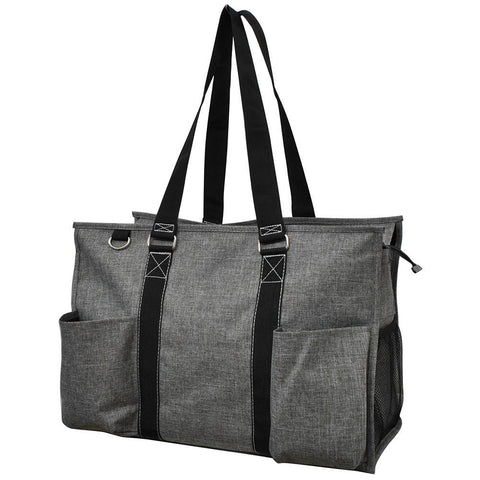 Crosshatch Gray NGIL Zippered Caddy Large Organizer Tote Bag