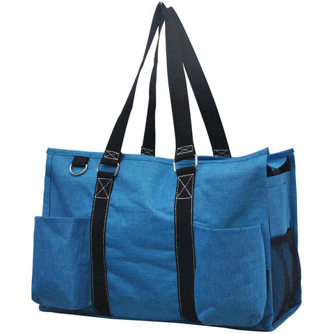 Crosshatch Turquoise NGIL Zippered Caddy Large Organizer Tote Bag