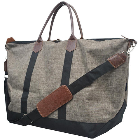 Personalized weekender tote bags, khaki travel bags, khaki travel tote, khaki crosshatch bag, personalized leather weekender bag, monogrammed weekender travel bag, monogrammed weekender tote bag, cute weekender duffle bags, cute weekender tote bags, customized women's weekender,