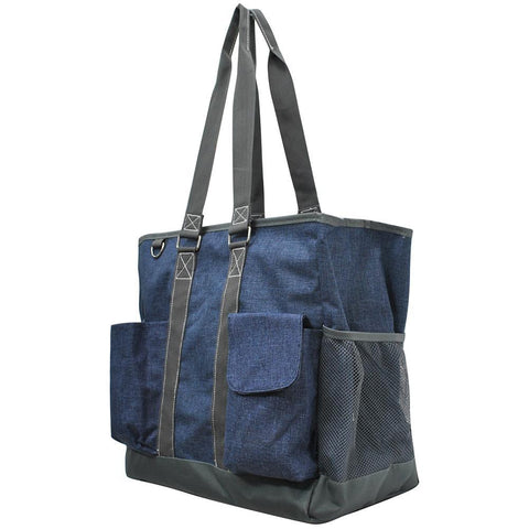 Crosshatch Blue NGIL Tall Canvas Tote Bag