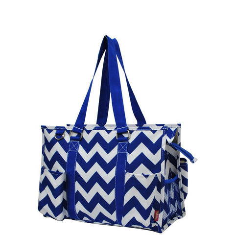Royal Blue Chevron NGIL Zippered Caddy Organizer Tote Bag