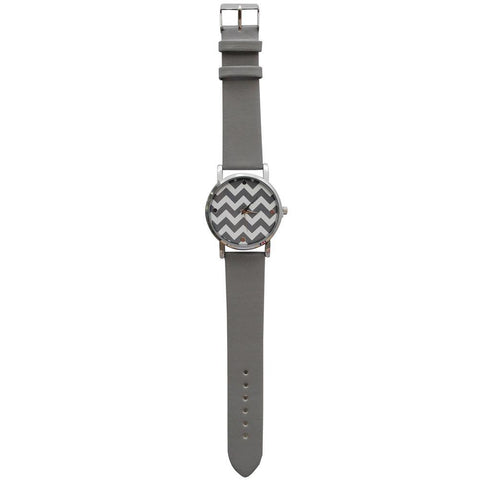 SALE!! Gray Chevron Faux Leather Watch