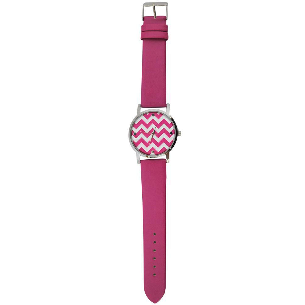 SALE!! Hot Pink Chevron Faux Leather Watch