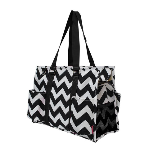 Black Chevron NGIL Zippered Caddy Organizer Tote Bag
