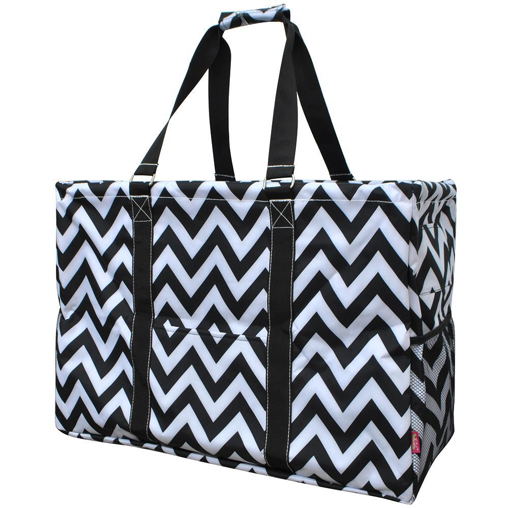 Black Chevron NGIL Mega Shopping Utility Tote Bag