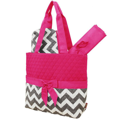 SALE ! Grey Chevron NGIL Quilted 3pcs Diaper Bag