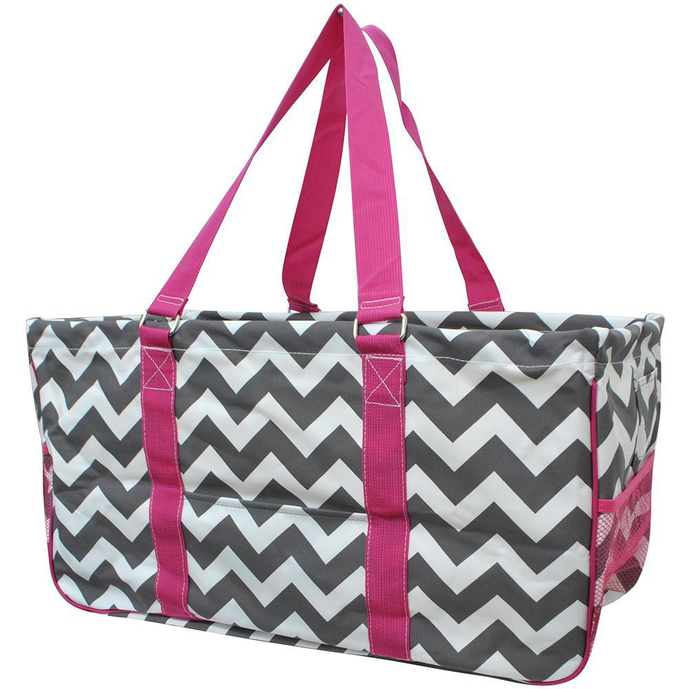 Grey Chevron Hot Pink NGIL Utility Bag