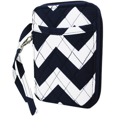 White and Navy Chevron NGIL Quilted Wristlet Wallet