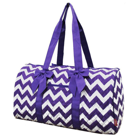 SALE! STAINED!! Purple Chevron NGIL Quilted Large Duffle Bag