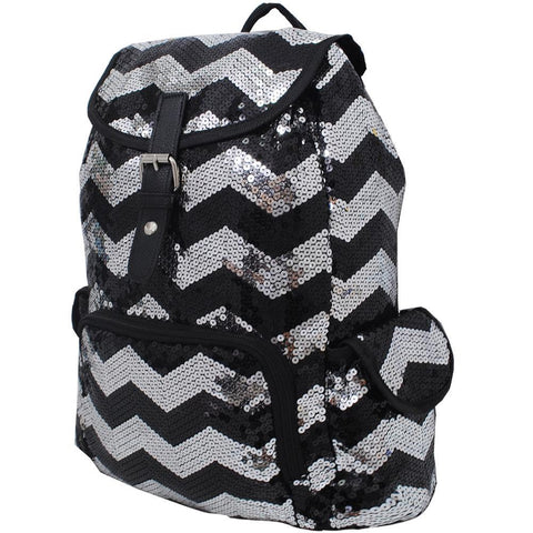 Black Chevron Sequins NGIL Large Backpack